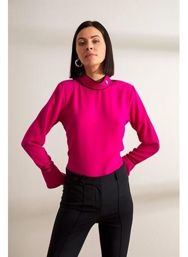 Setre Fuşya Bağcık Yaka Uzun Kol Kontrast Biyeli Bluz Fuşya